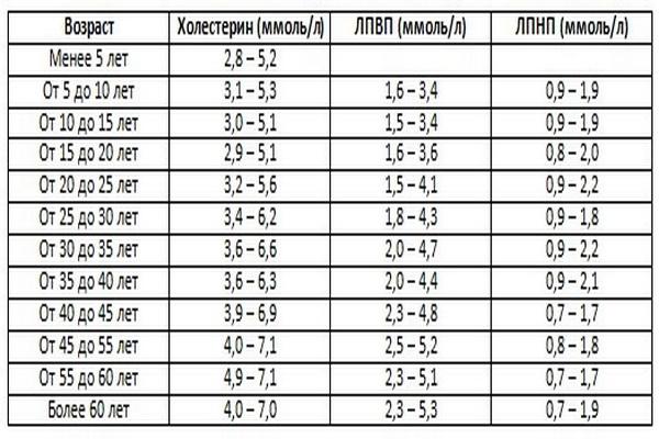 Таблица уровня холестерина и жиров новая