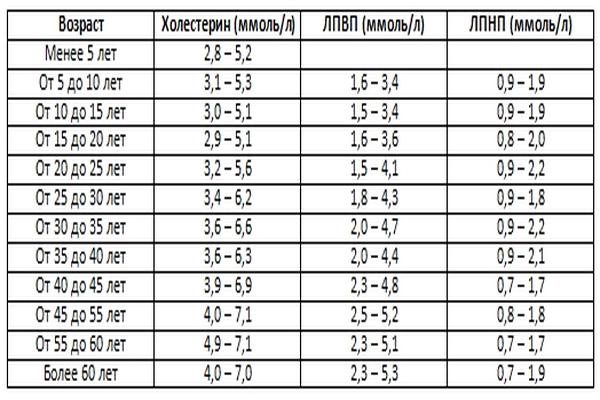 Таблица содержание холестерина и его фракций в крови в норме