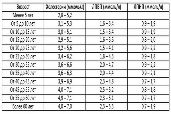 Таблица норм холестерина, ЛПВП, ЛПНП по возрастам