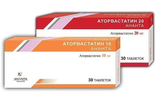 Аторвастатин в форме таблетки